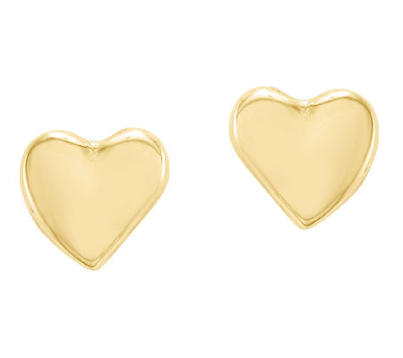 Heart Stud Earrings, 14K Gold