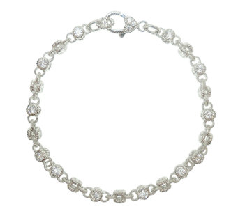 "Judith Ripka Sterling 100-Facet Diamonique 11""Ankle Bracelet - J340175"