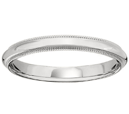 Platinum 3mm Milgrain Comfort Fit Wedding BandRing