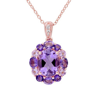 Sterling 3.65 cttw Amethyst & Rose de France Pendant w/ Chain - J342175