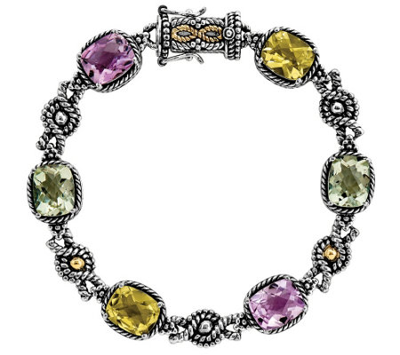 "Sterling and 14K Gold Multi-color Quartz 7- 1/4"" Bracelet"