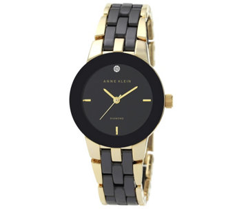 Anne Klein Diamond Accent Dial Goldtone Black Ceramic Watch - J342975