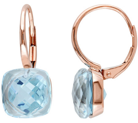 10.50 cttw Sky Blue Topaz Earrings, 14K Rose Gold