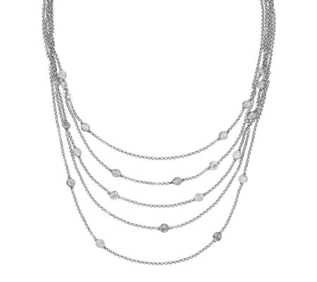 "Sterling Multi-Layer Disk 16-1/2"" Necklace"