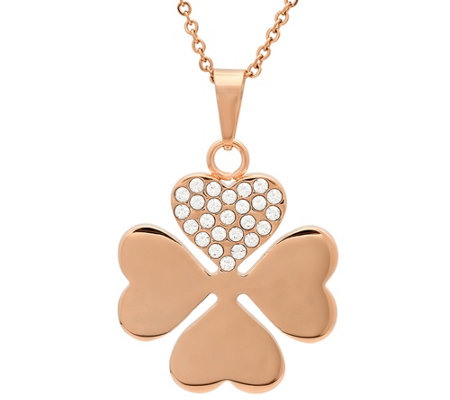 Stainless Steel Crystal Clover Pendant w/ Chain