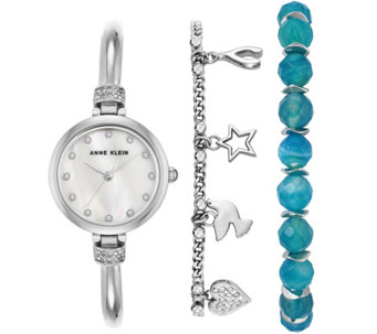 Anne Klein Women's Silvertone Watch and Bracelet Set - J344775