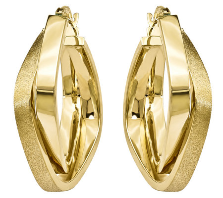 14K Gold Double-Square Hoop Earrings