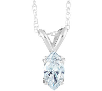 Marquise Diamond Pendant, 14K White Gold, 1/10ct, by Affinity - J345275