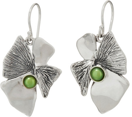 Hagit Sterling Silver Lotus Flower w/ Pearl Earrings