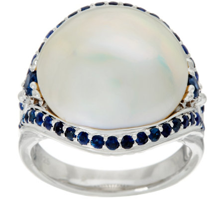 Honora Mabe Cultured Pearl & Sapphire Ring Sterling Silver