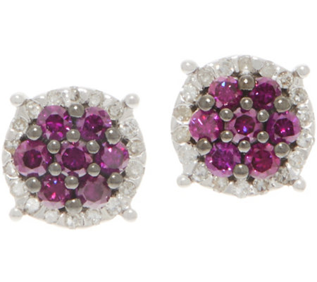 Purple Diamond Cluster Studs, 6/10 cttw, Sterling, by Affinity