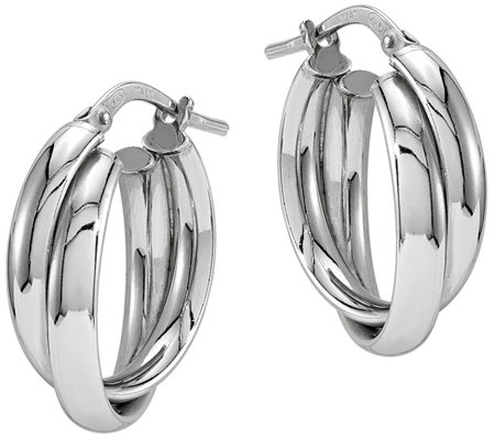 Sterling Crossover Hoop Earrings by Silver Style