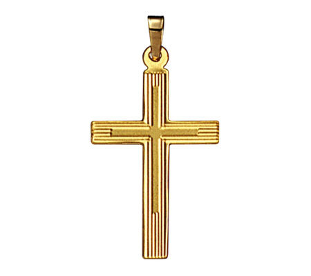 14K Cross Pendant with Line Design