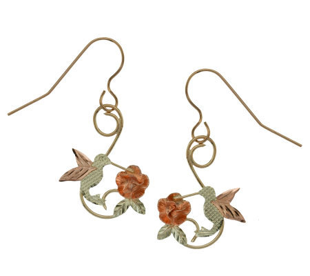 Black Hills Dangling Hummingbird & Rose Earrings, 10K/12K/14K
