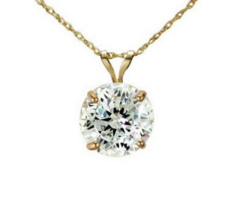 Diamonique 100 Facet 3 ct tw Pendant w/Chain, 14K Gold - J111276