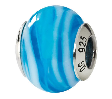 Prerogatives Sterling Blue Swirls Italian Murano Glass Bead