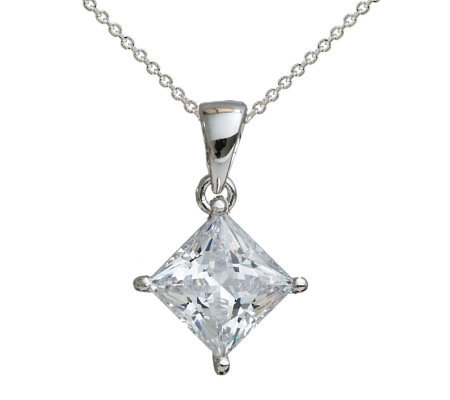 Diamonique 2.00 ct Princess Cut Pendant,Platinum Clad