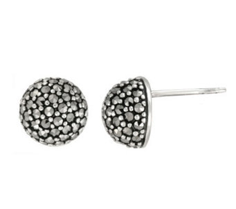 Suspicion Sterling Marcasite Small Domed Stud Earrings - J112476