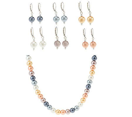 Set of 6 Simulated Pearl Earrings & Necklace Set