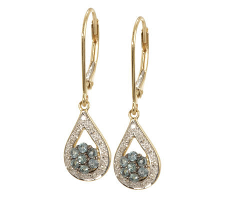 0.30 ct tw Alexandrite & Diamond Accent Teardrop Earrings, 14K
