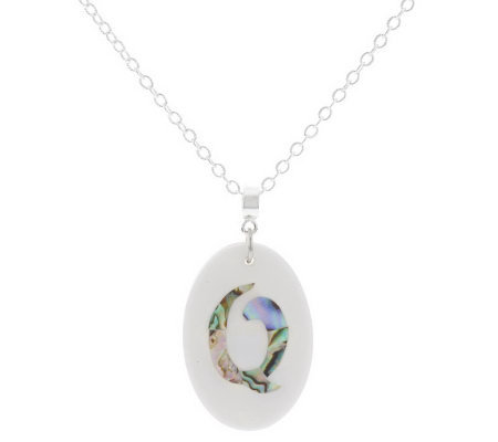 "Lee Sands Oval Initial Mother-of-Pearl & Shell 30"" Necklace"