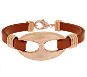 Bronze Leather Status Link Station Bracelet by Bronzo Italia - J282476