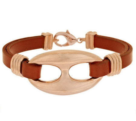 Bronze Leather Status Link Station Bracelet by Bronzo Italia