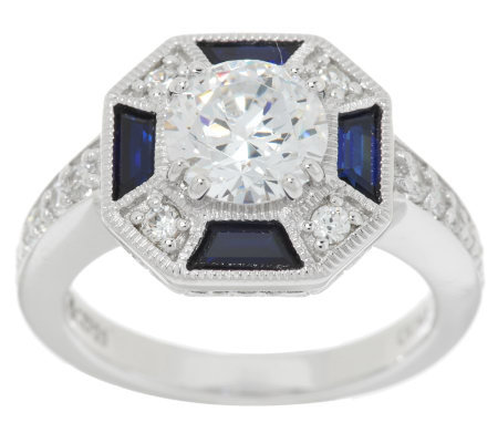 Epiphany Diamonique Simulated Blue Sapphire Art Deco Style Ring