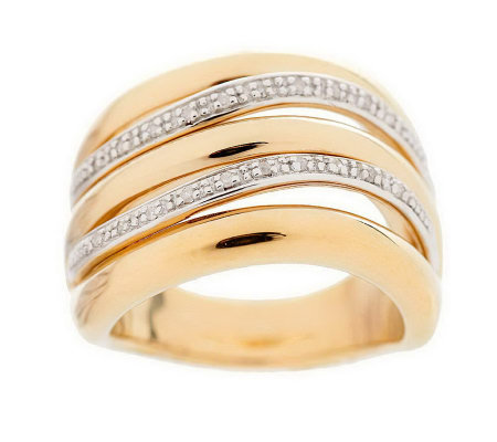 """As Is"" Bold Multi-row Diamond Accent Band Ring, 14K Gold"