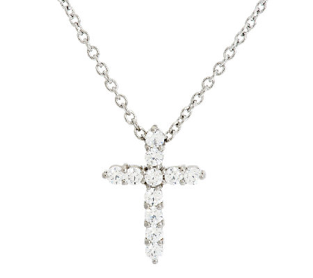 Stainless Steel Crystal Cross Pendant with 18