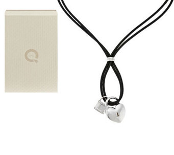 """As Is""  Ultra Fine Silver Polished Lock Pendant Leather Necklace - J292676"