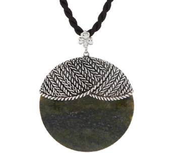 Sterling Silver and Connemara Marble Disk Aran Stitch Pendant - J295376