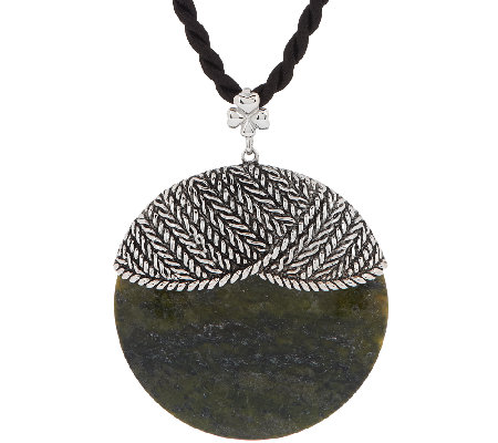 Sterling Silver and Connemara Marble Disk Aran Stitch Pendant