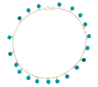 """As Is"" 14K Gold 11"" Turquoise Bead Dangle Ankle Bracelet - J296376"