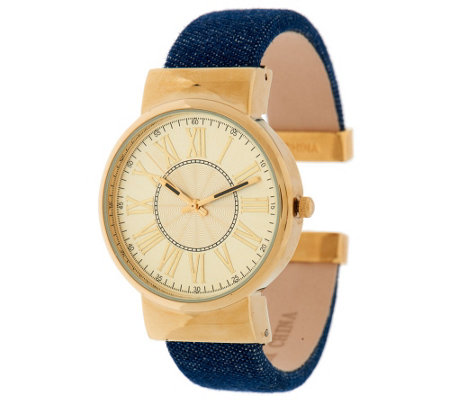 Joan Rivers Denim Hinged Bangle Watch