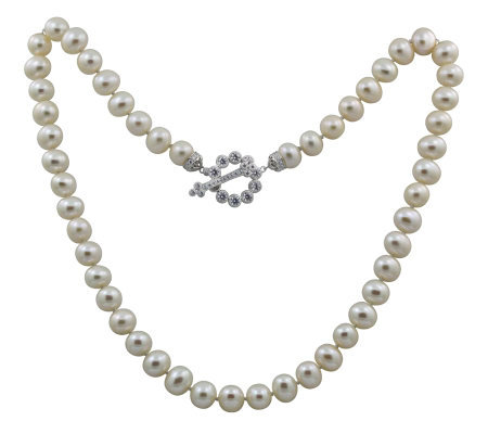 Erica Courtney Cultured Pearl with Diamonique Toggle Necklace