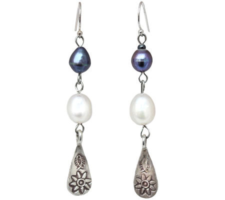 Novica Artisan Crafted Sterling Pearl Dangle Earrings