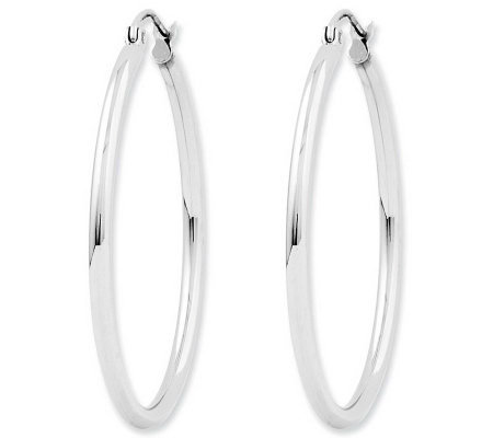 "Polished 1-3/8"" Round Hoop Earrings, 14K"