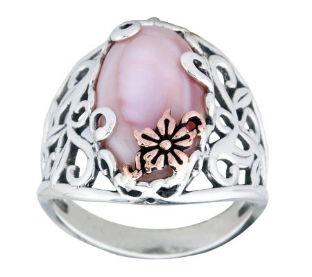 Carolyn Pollack Sterling Mother-of-Pearl Butter cup Ring