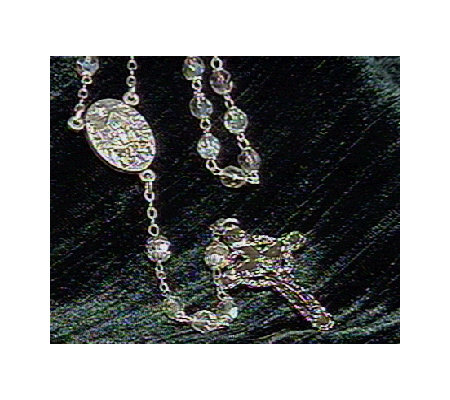 Connemara Marble Iridescent Glass Rosary with Silvertone Cros