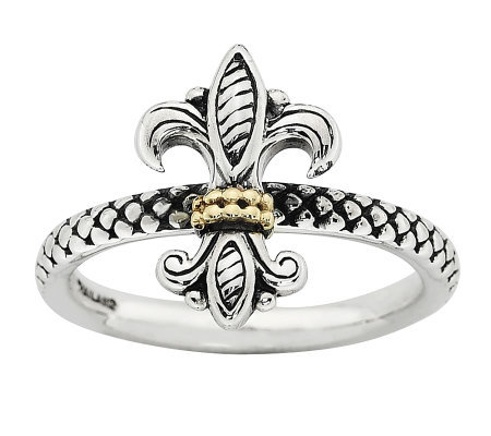 Simply Stacks Sterling Two-Tone Fleur-de-Lis Ring