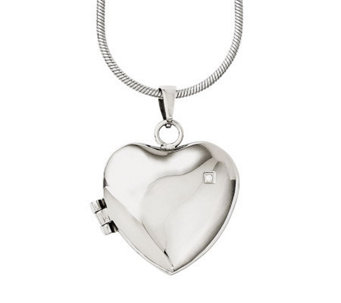 "Stainless Steel 20"" Polished Heart Locket Necklace - J313276"