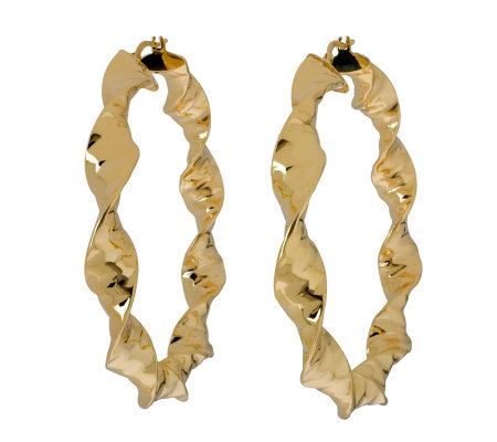 "Veronese 18K Clad 2-1/2"" Twisted Hoop Earrings"