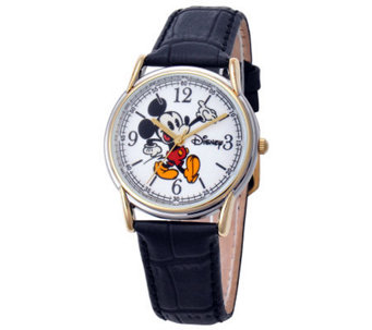 Disney Men's Cardiff Mickey Leather Strap Watch - J315576