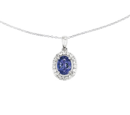 "Sterling Silver Oval Gemstone w/ Halo Pendant w / 18"" Chain"