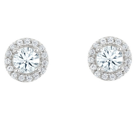 Round Diamond Halo Stud Earrings, 14K, 1/2 cttwby Affinity