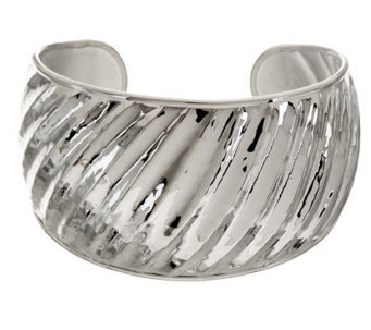 """As Is"" Ultra Fine Silver Large Hammered & Ribbed Cuff, 27.7g - J318576"