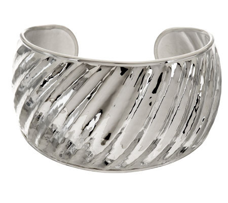 """As Is"" Ultra Fine Silver Large Hammered & Ribbed Cuff, 27.7g"