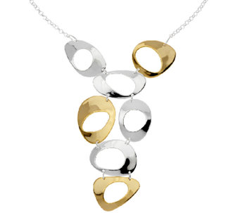 RLM Bronze Two Tone Open Circle Adjustable Bib Necklace - J319076