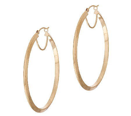 "14K Gold 1-1/2"" Knife Edge Round Hoop Earrings"